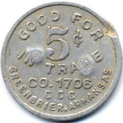 5 Cents CCC Token Greenbriar, AR reverse