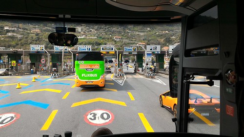 Last toll booth before the border of Italy and France - near Ventimiglia, Italy