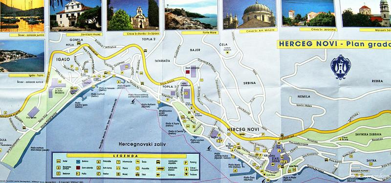 Карта Херцег Нови и Игало с районами и улицами