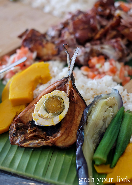 Fried milkfish with salted egg for our boodle fight at Sizzling Fillo in Lidcombe Sydney