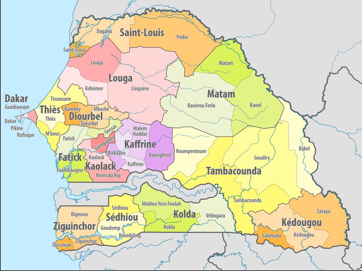 Map of Senegal's administrative divisions