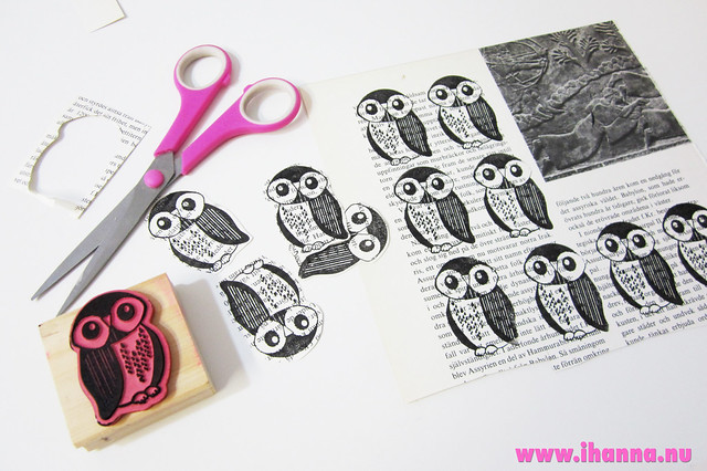 Owl Scrap Die Cuts stamped and cut out - tutorial by iHanna