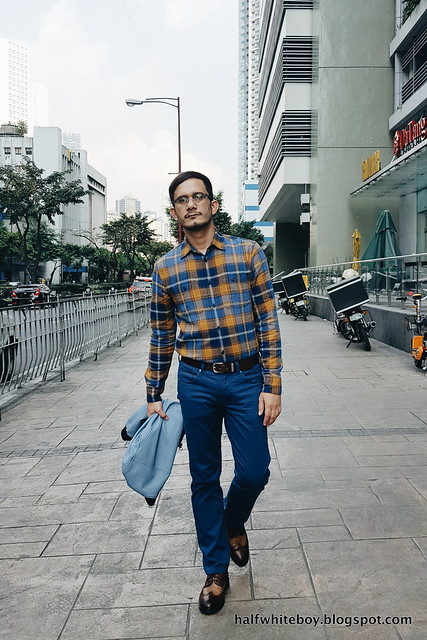 halfwhiteboy - plaid shirt blue pants blue leather jacket 02