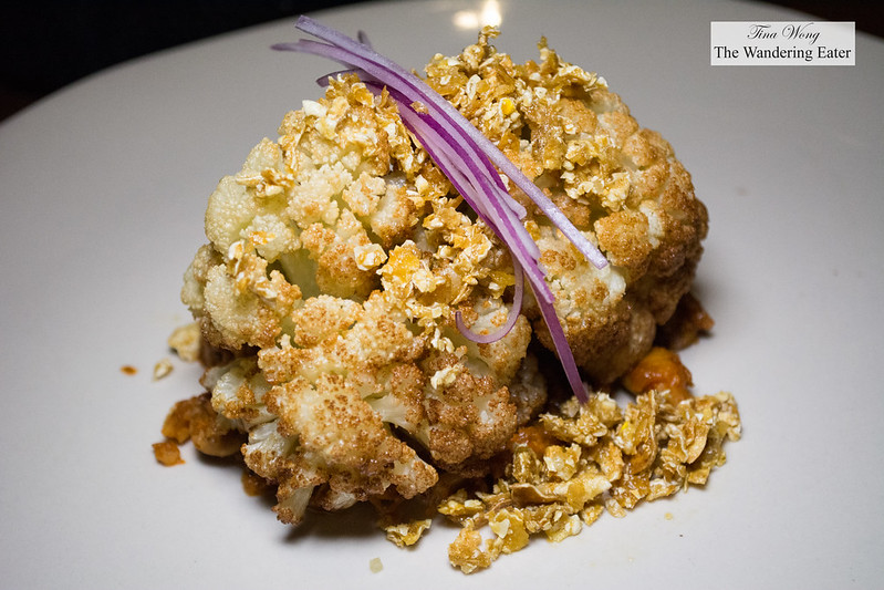 Cauliflower, fried chicken skin, almond salsa macha, chile de árbol