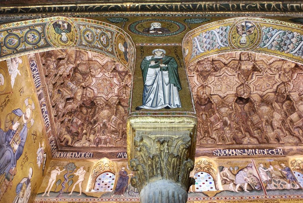 Mosaiques et nid d'abeille dans la chapelle Palatine de Palerme.
