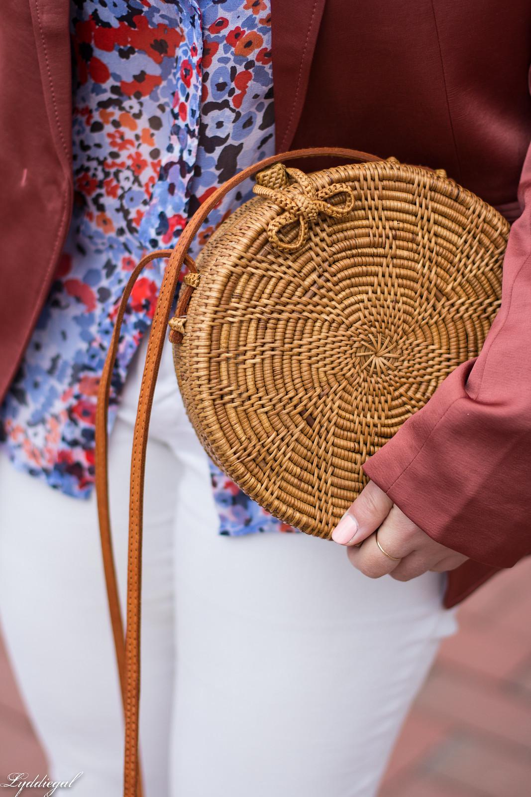 Rust Silk Blazer, Floral Blouse, White Jeans, Round Straw Bag-22.jpg