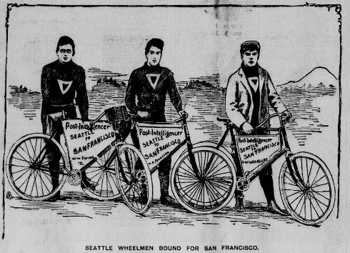 Newspaper sponsored cyclists riding from Seattle to SF