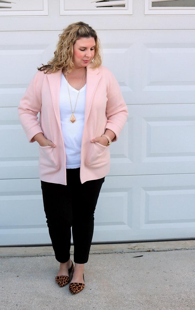 blush sweater cardigan, white tee, black pencil pants, leopard flats 4