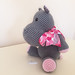 Seated Hippo with Ribbon