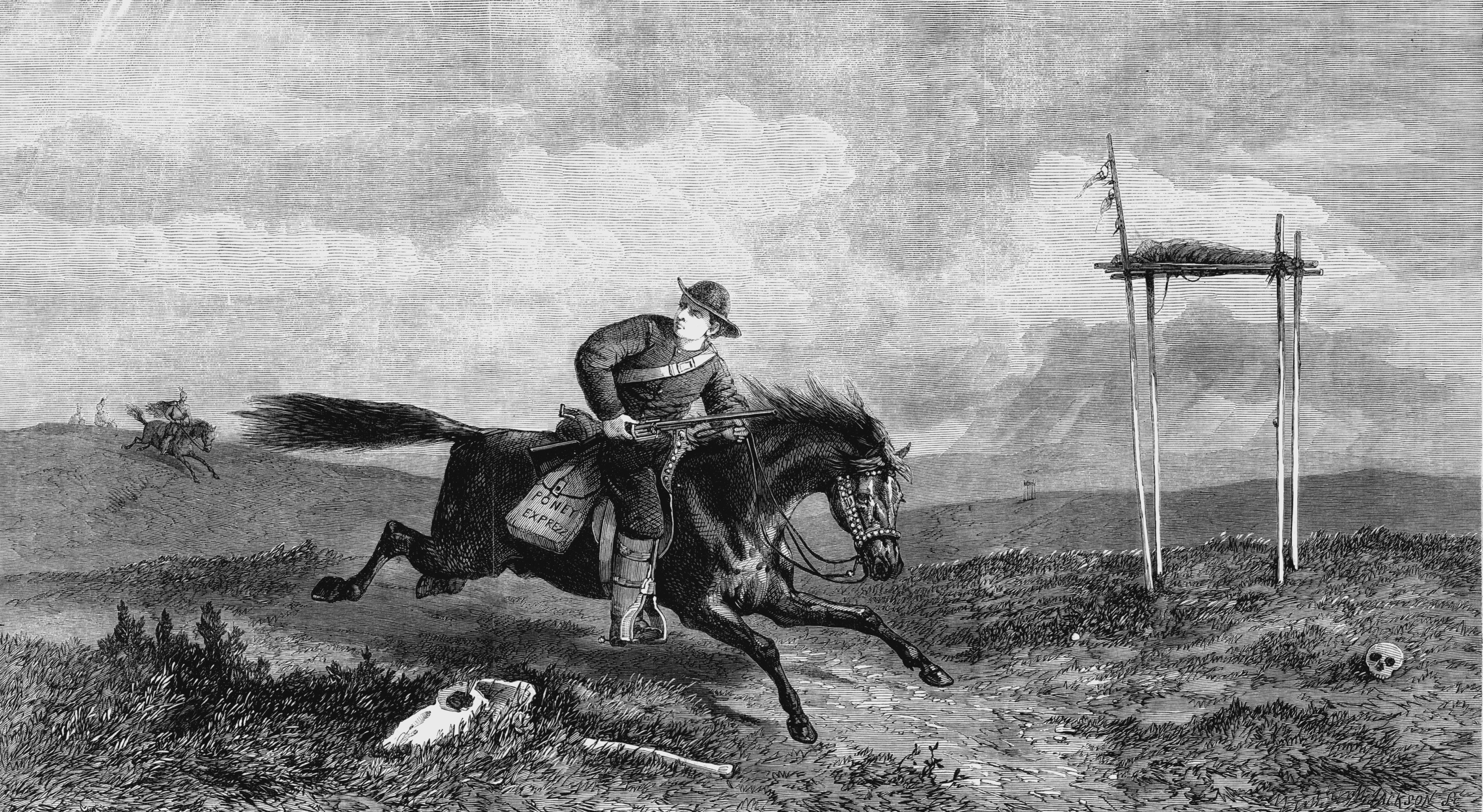 Pony Express rider crossing hostile country between St Joseph, Missouri, and San Francisco, pursued by native Americans. Engraving from The Illustrated London News, October 1861.