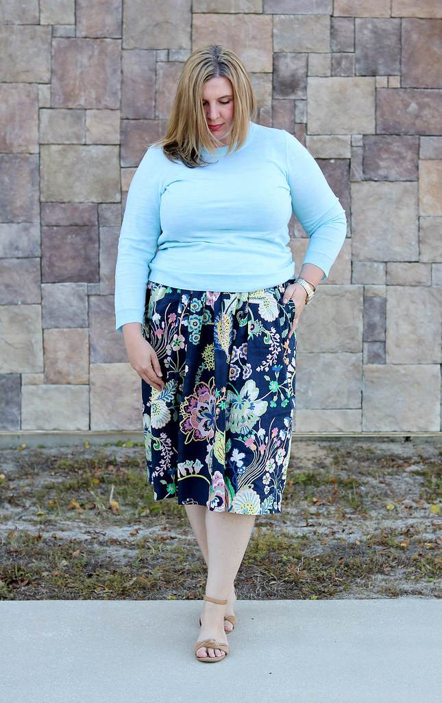 floral cotton midi skirt, aqua tippi, nude wedge sandals 5
