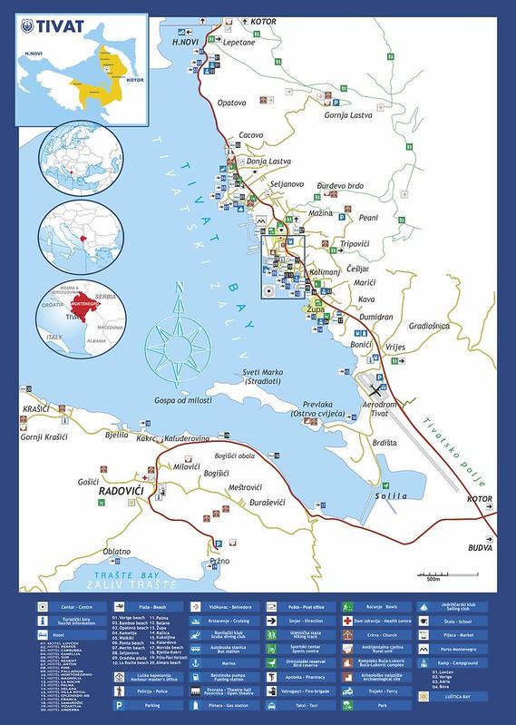 Карта Тивата и его окрестностей