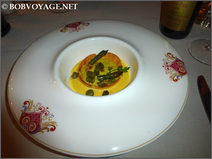 טארט אספרגוס ב- מסעדת Bovio ב- פיימונטה (Piedmont)