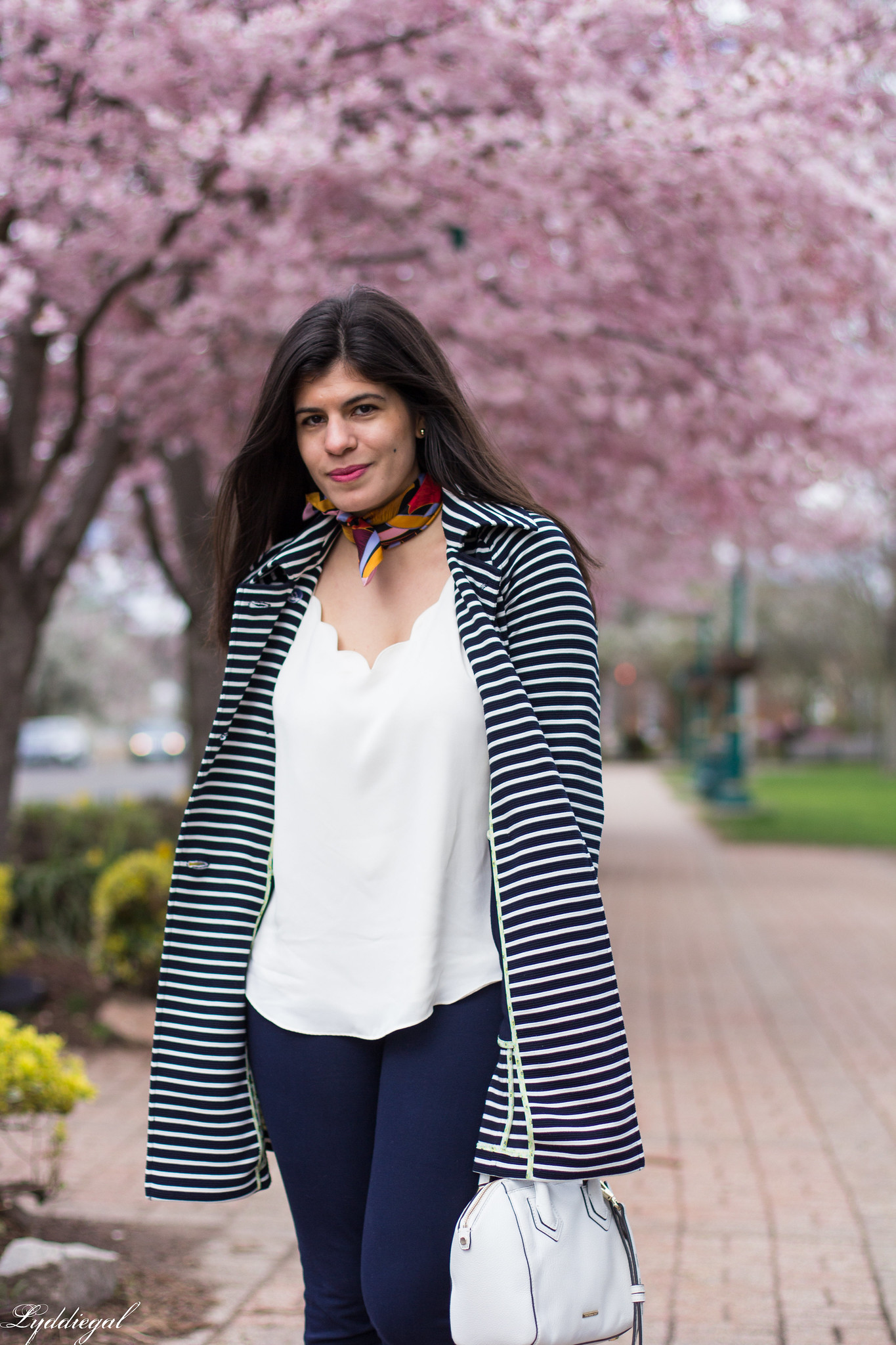 Striped trench, scalloped cami, navy pants, silver loafers 3
