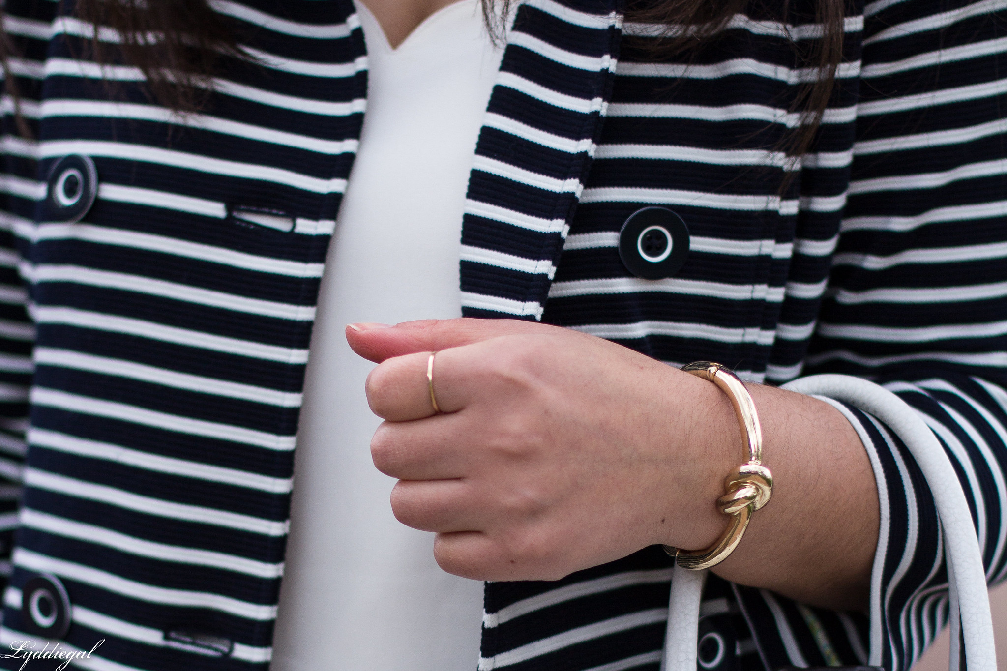 striped trench, knot bracelet