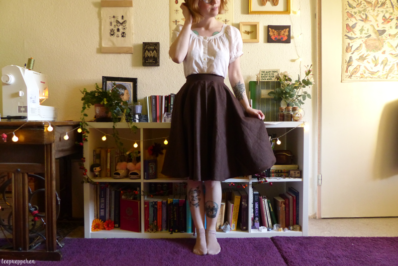 dark brown linen 50s midcentury handmade skirt