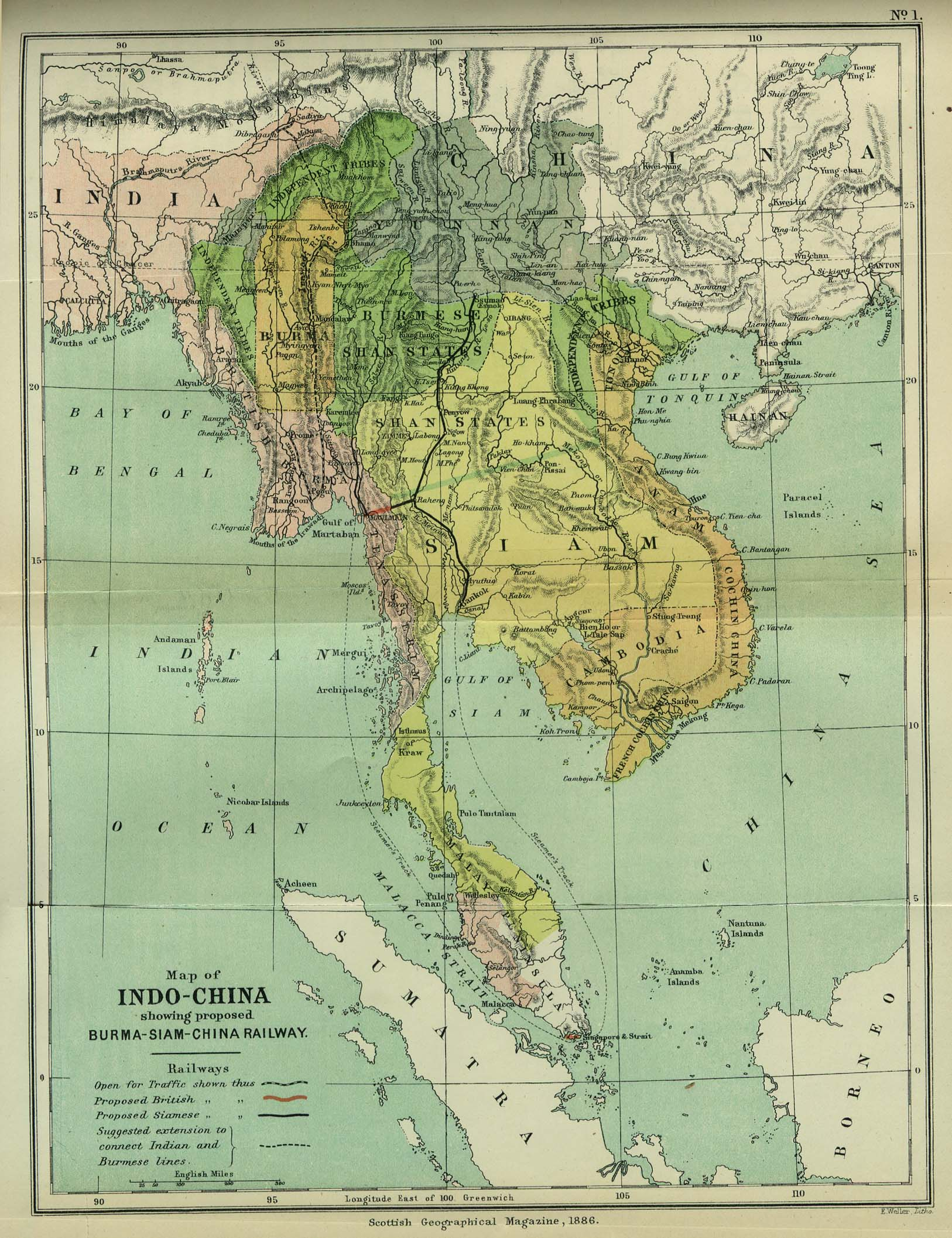 Map of Indochina, 1886
