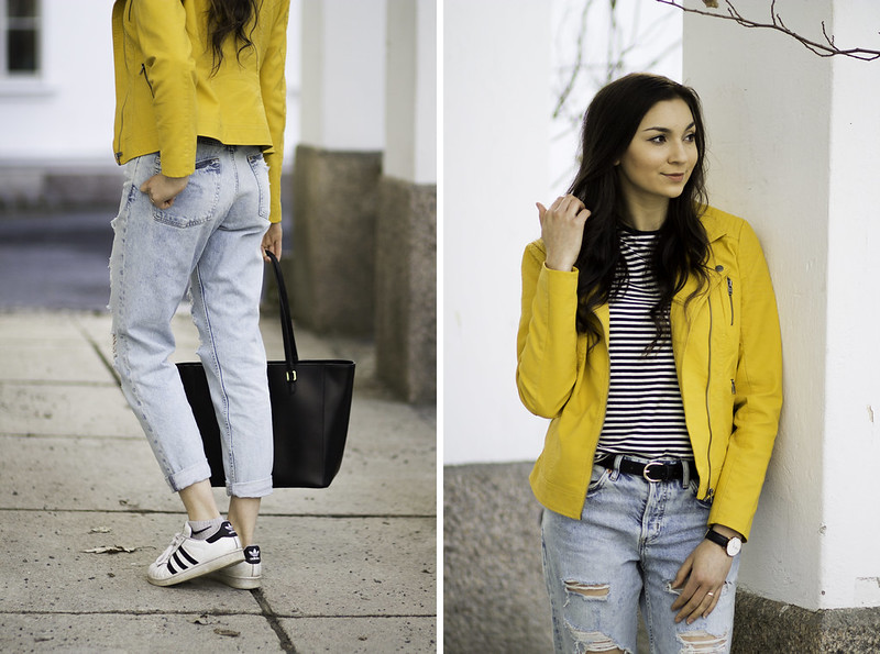 keltainen nahkatakki ja boyfriend farkut blogi