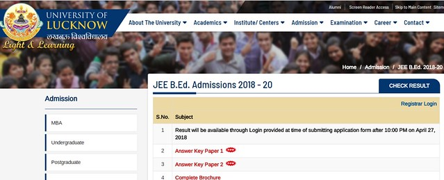 Up B.Ed Result 2018 Notification