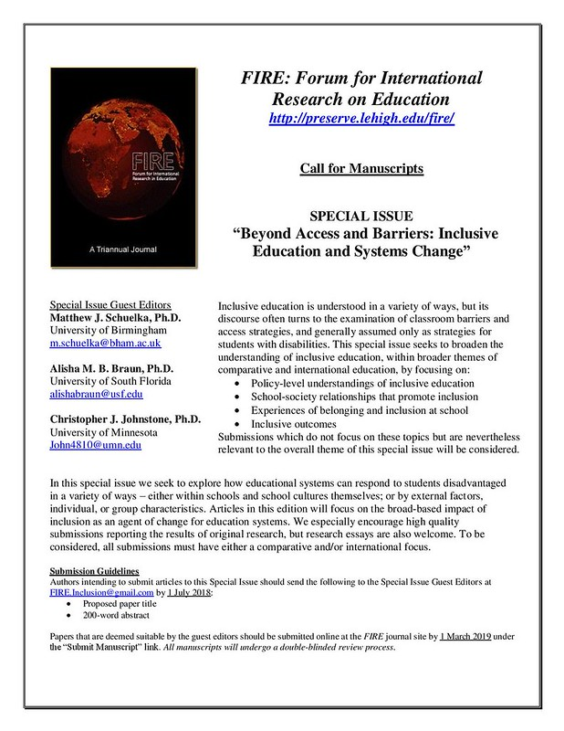 Inclusive Education - FIRE Call for Papers