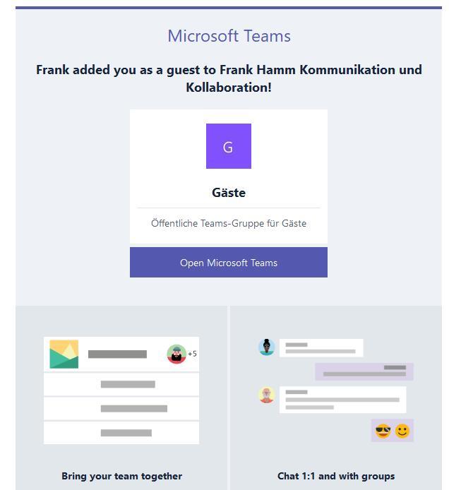 Microsoft Teams Gastzugang (3): Gast erhält Email mit Link
