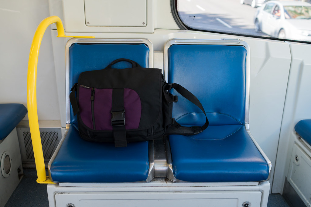 The Tom Bihn ID messenger bag on a MAX train in Portland, Oregon