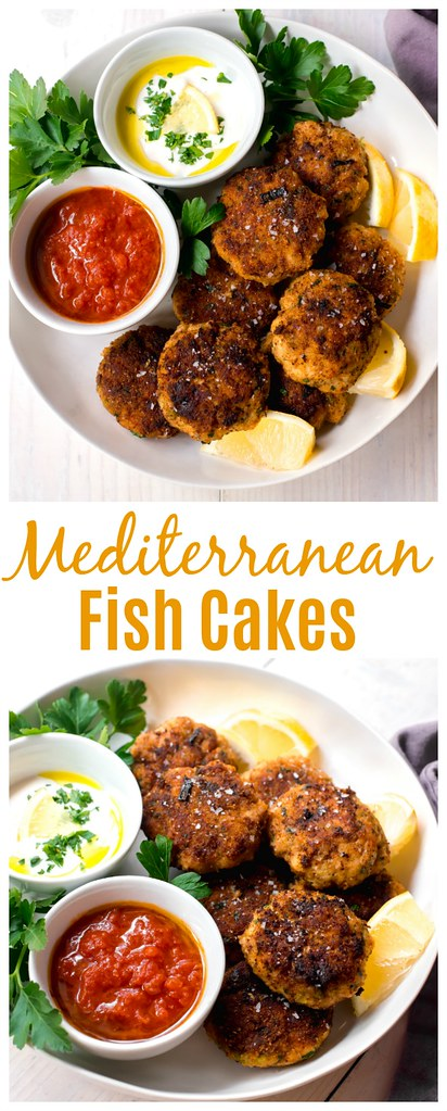 Mediterranean Fish Cakes full of bright lemon zest, garlic, leeks and spices and served along side smoky cumin tomato sauce and lemon horseradish to dip into.