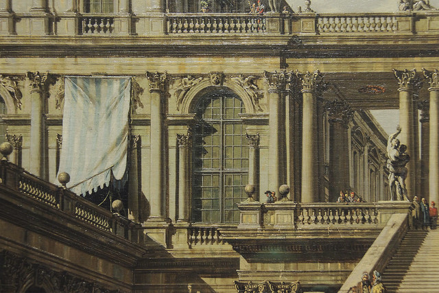 Detail - Veduta Ideale with Palace Staircase, Canaletto, 1762
