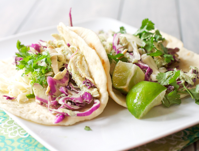 roast chicken soft tacos with cilantro cream