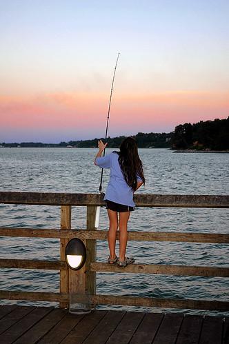 ocean light sunset sky fish beach girl kids children pier kid fishing dock child rod