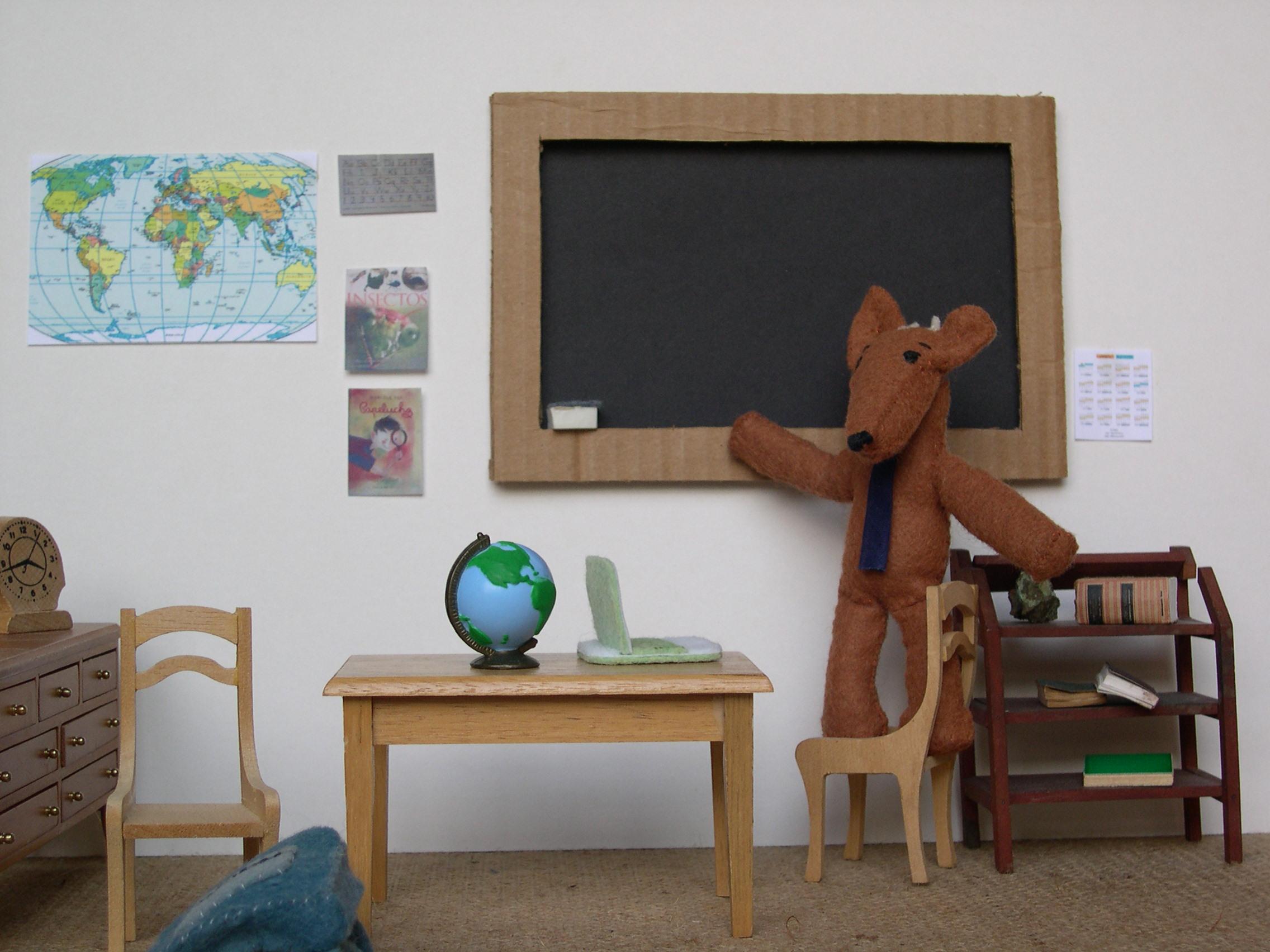 Pudú in classroom.