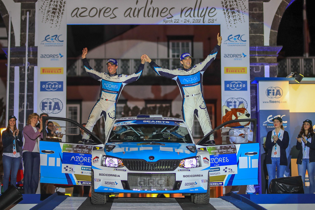 07 MOURA Ricardo (prt), COSTA Antonio (prt), FORD FIESTA R5, podium during the 2018 European Rally Championship ERC Azores rally,  from March 22 to 24, at Ponta Delgada Portugal - Photo Jorge Cunha / DPPI