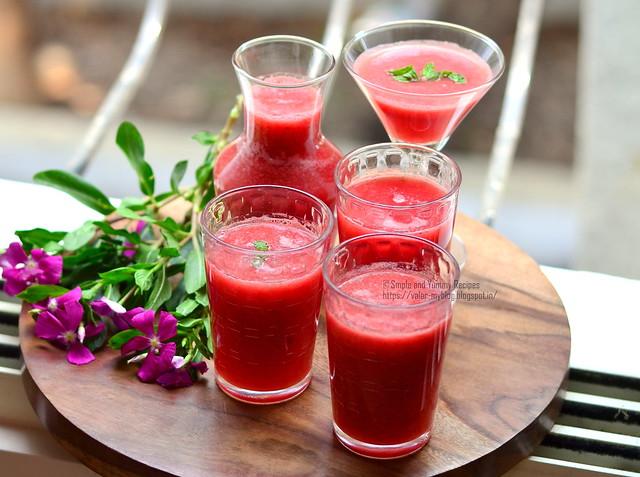 Watermelon, mint and lemon juice