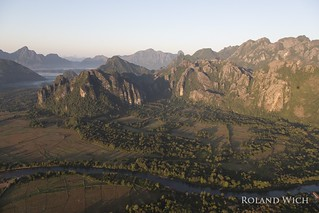 Laos - Vang Vieng from a hot air balloon