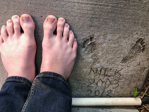 Nick's 15 year old feet compared with his 3 month old imprints.