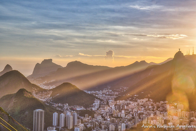 Sunset over Rio de Janiero, as seen from Sugarloaf Mountain