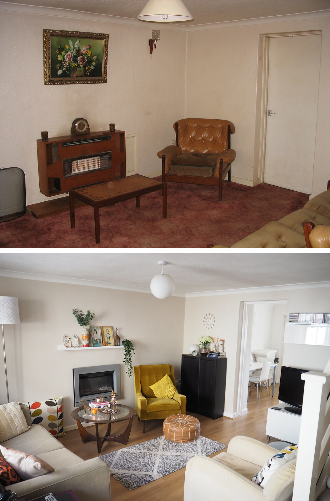 Living room makeover before and after - mid century style \ modern interiors | Not Dressed As Lamb blog