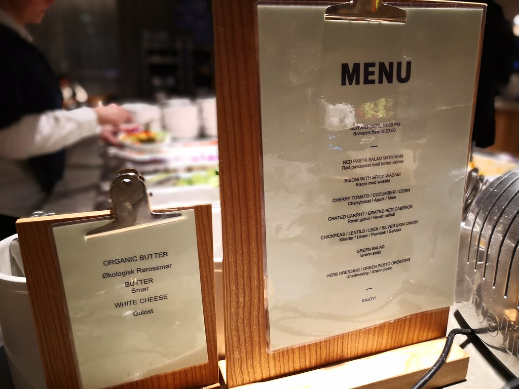Menu at the lounge