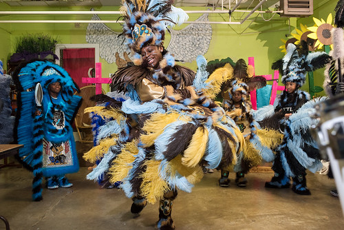 Wild Opelousas Big Queen Regine dances during Indian Red on Febuary 8, 2018. Photo by rhrphoto.com.