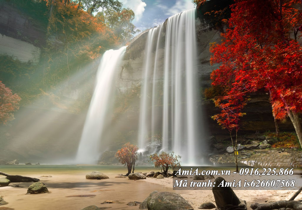 Tranh thác nước cảnh đẹp thiên nhiên treo tường phòng khách