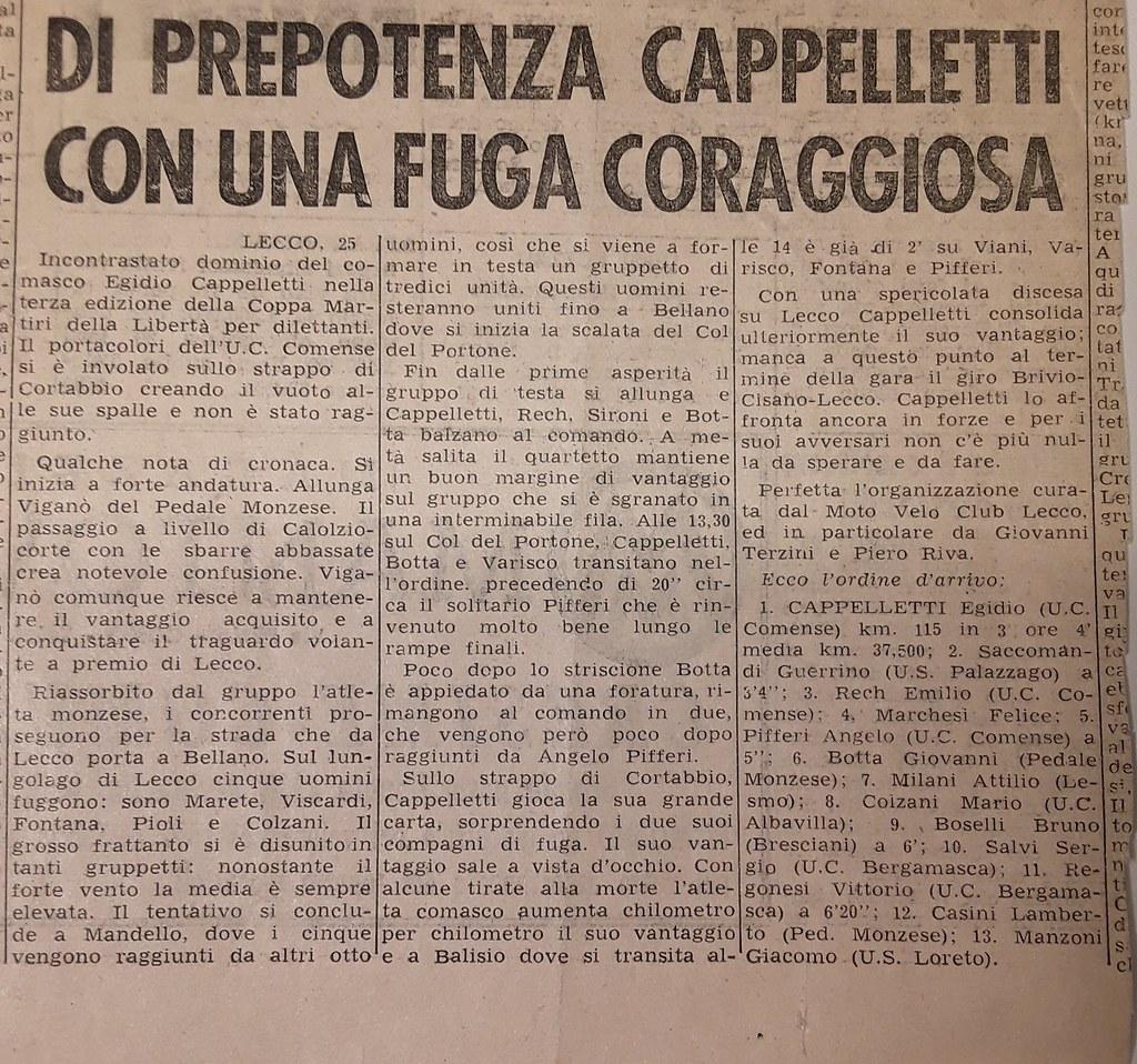 Egidio Cappelletti vince la Coppa Martiri della Libertà 1960 articolo il Ciclismo d'Italia (materiale inviato dalla figlia Silvia)