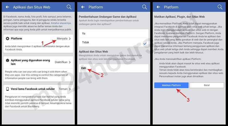 Langkah-langkah pengaturan (settings) platform aplikasi Facebook