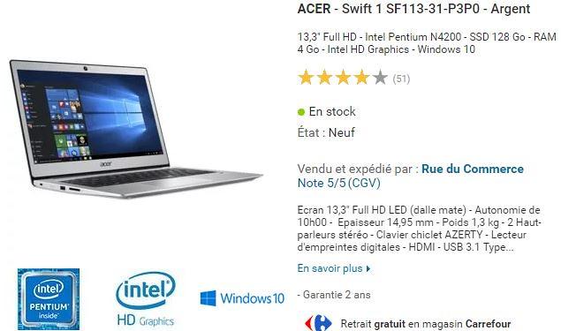 L'Acer Swift 1 passe au Gemini Lake Pentium N5000 et au 14 pouces