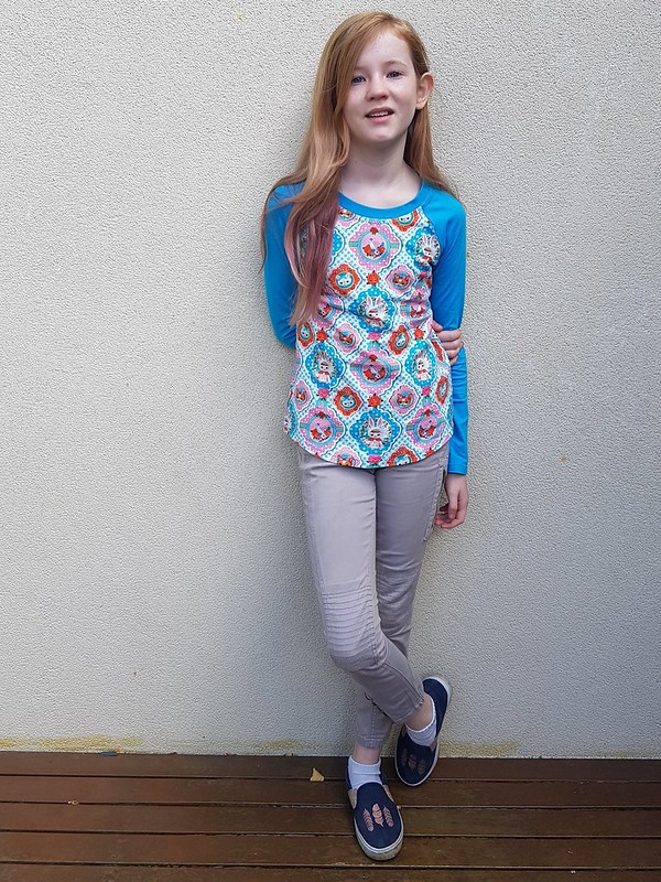 Hey June Patterns Camden Raglan in Crafty Mamas french terry and jersey