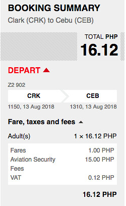 Clark to Cebu AirAsia Promo August 13, 2018