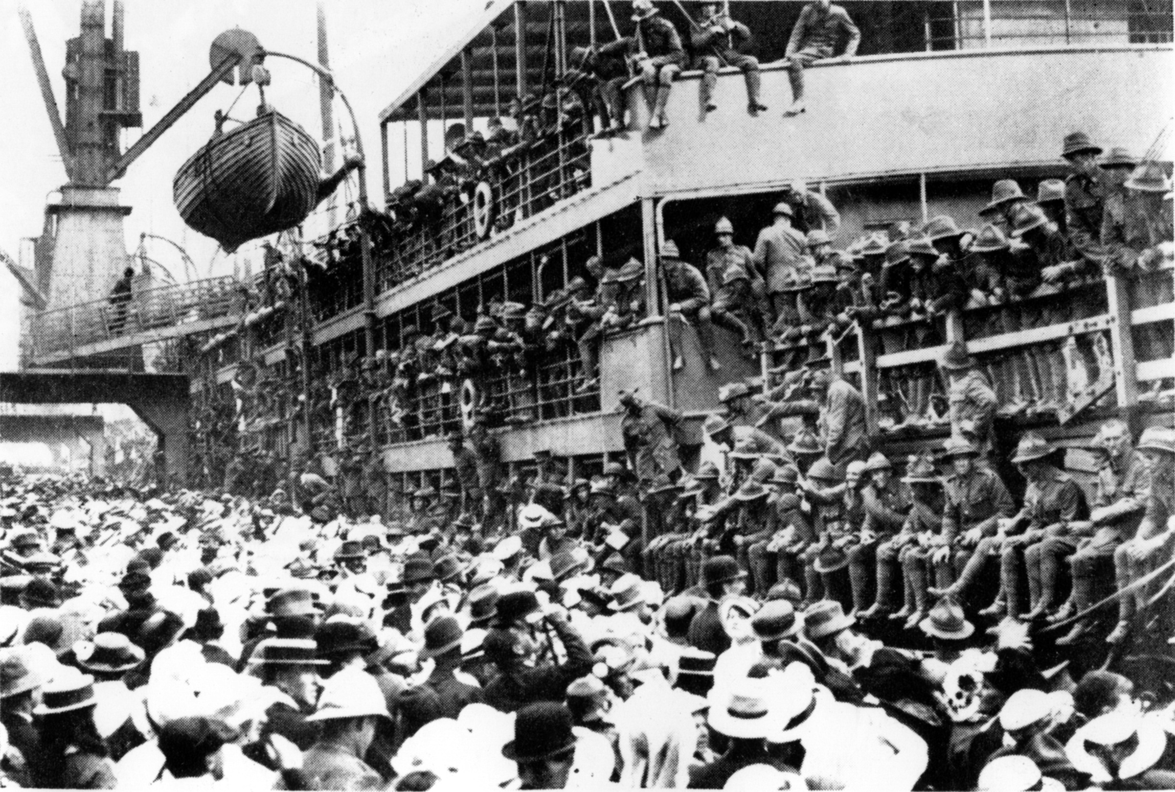 On October 16, 1914, amidst anxious and curious onlookers, the Main Body of the New Zealand Expeditionary Force (NZEF) left Wellington on ten troopships. The 8454 personnel and 3000 horses was the largest body of men (and horses) to leave New Zealand at any one time. Once the soldiers and their equipment were loaded, the troopships made their way across the Tasman to link up with the Australian Imperial Force (AIF) at Albany, Western Australia. The plan was to set out across the Indian Ocean for France, but with Turkey's entrance into the war on November 5, the troops were diverted to Egypt. Less than six months later, they saw their first action at Gallipoli. New Zealand Archives Reference AAME 8106 Box 118/ 11/17/3