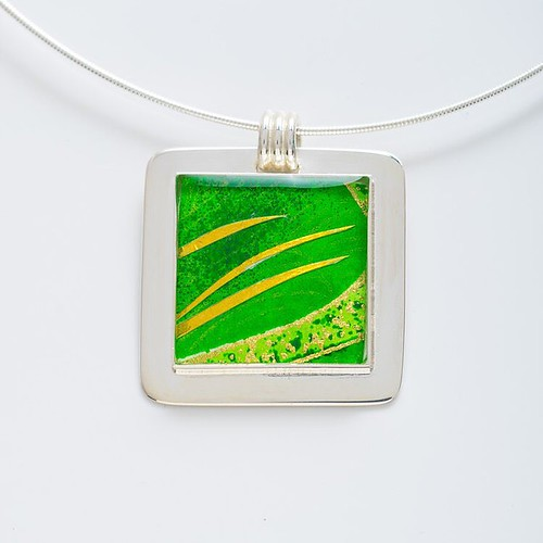 Green and Yellow Chiyogami Paper Necklace by Bashful Pineapple
