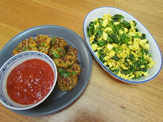 Simple Scrambled Tofu; Vegetable Rosti with a Smoky Roasted Salsa