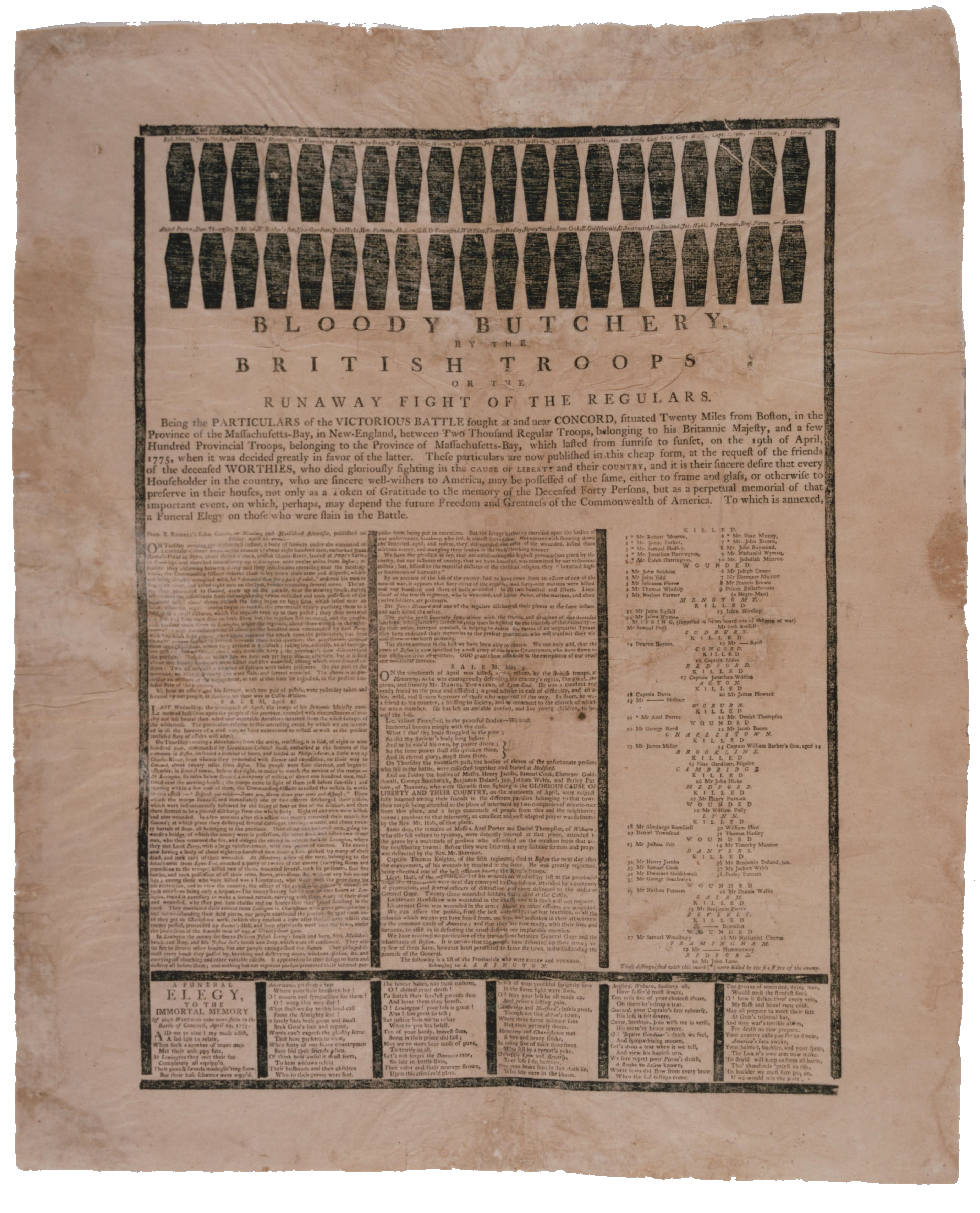 Lexington and Concord broadside, 1775. (GLC 4810 detail. The Gilder Lehrman Collection, on deposit at the Pierpont Morgan Library).