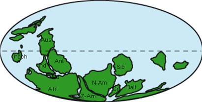 Depiction of supercontinent Pannotia